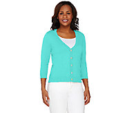 Isaac Mizrahi Live! Essentials 3/4 Sleeve V-Neck Cardigan - A263882