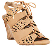 Me Too Leather Tie Front Perforated Wedges - Basil - A264782
