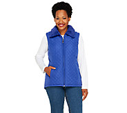 As Is Denim & Co. Zip Front Quilted Vest with Faux Sherpa Lining - A267082