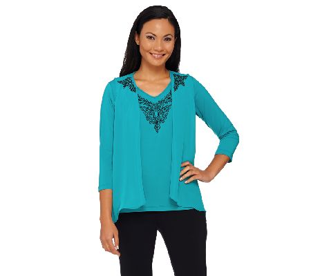 Bob Mackie's Lace Embroidered Vest and Knit Top Set - A268382