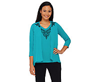 Bob Mackies Lace Embroidered Vest and Knit Top Set - A268382