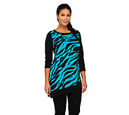 As Is Susan Graver Printed Liquid Knit Asymmetrical Hem Tunic - A268782