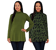Susan Graver Printed & Solid Liquid Knit S/ 2 Turtleneck Tunics - A269282