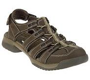 As Is Clarks Leather Adj. Fisherman Sport Sandals - Vapor Mist - A270082