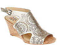 As Is Isaac Mizrahi Live! Perforated Leather Wedge Sandals - A271382