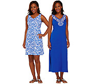 As Is Stan Herman Beaded Vines Shift and Maxi Lounge Dress Set - A271682