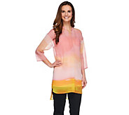 H by Halston Horizon Ombre Print Woven Tunic with Knit Tank - A272282