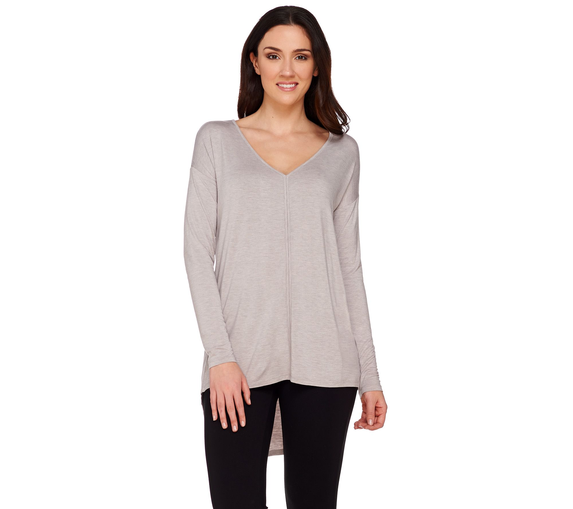 H by Halston Knit Long Sleeve Top with Ladder Stitch Shoulder