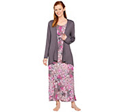 Carole Hochman Petite Abstract Hydrangea Rayon Spandex Maxi Dress Set - A273582