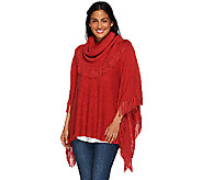 As Is Layers by Lizden Marvelush Cowl Neck Fringed Poncho - A275182