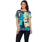 Studio By Denim & Co. Graphic Printed Short Sleeve Woven Top - A275282