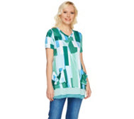 LOGO by Lori Goldstein Printed Top w/ Pockets & Color-Block Hem