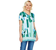 LOGO by Lori Goldstein Printed Top with Pockets & Color-Block Hem - A275782