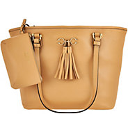 C. Wonder Pebble Leather Open Tote Handbag with Pouch - A277982