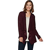 LOGO by Lori Goldstein Faux Suede Draped Front Cardigan - A279482