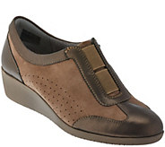 As Is Clarks Artisan Suede & Leather Slip-on Mini Wedges - Petula Viola - A280382