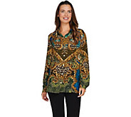 Susan Graver Printed Feather Weave Button Front Shirt - A282082