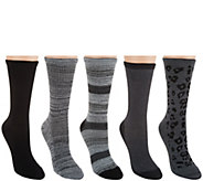 Cuddl Duds Plushfill Mid-Weight Boot Socks Set of 5 - A282382