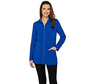As Is Susan Graver Weekend Brushed Back Knit Zip Front Hooded Jacket - A282482