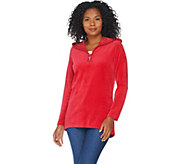 Quacker Factory Velour Rhinestone Half Zip Hooded Tunic - A285182