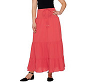 As Is Denim & Co. Gauze Tiered Skirt with Waist Tie Detail - A286182