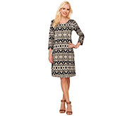 As Is Liz Claiborne New York Petite 3/4 Sleeve Printed Dress - A286682
