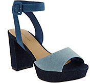 Marc Fisher Denim Platform Sandals with Ankle Strap - Meliza - A287482