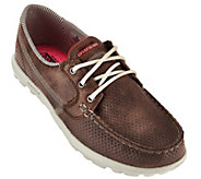 As Is Skechers On-the -GO Embossed Lace-up Boat Shoes- Tide - A287582