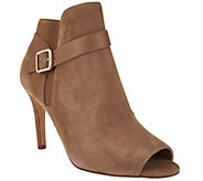 As Is Marc Fisher Leather or Suede Peep Toe Ankle Boots - Shimmee - A287782