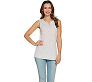 Susan Graver Printed Liquid Knit Sleeveless Top - A288482