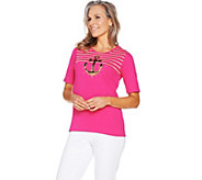 Quacker Factory Glam Anchor Sequin and Stripe Elbow Sleeve T-shirt - A289682
