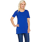 Denim & Co. Regular Perfect Jersey Cold Shoulder Elbow Sleeve Tunic - A290282