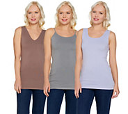 skinnytees Seamless Cami, Scoop & V-Neck Tank Set of Three - A291482