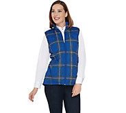 As Is Denim & Co. Quilted Plaid Vest with Fleece Lining - A292182