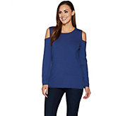 Denim & Co. Ribbed Knit Long Sleeve Cold Shoulder Sweater - A294082