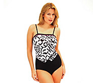 Fit 4 U Tummy Crossword Double V Bandeau Swimsuit - A332182