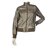 M by Marc Bouwer Crinkled Faux Leather Bomber Jacket - A213783