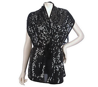 The Paillette Shimmer Scarf Vest by VT Luxe