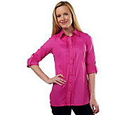 Isaac Mizrahi Live! Pleat Front Tunic with Roll Tab Sleeves - A216483