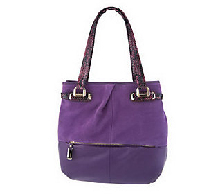 B. Makowsky Suede and Leather Tote Bag with Python Embossed Trim