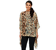 Attitudes by Renee Printed Scarf Top with Knit Cami - A231683