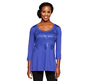 LOGO by Lori Goldstein 3/4 Sleeve Knit Top with Embellishment - A235483