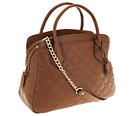 Joan Rivers Quilted Leather Satchel with Removable Chain Strap - A251183