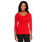 Linea by Louis DellOlio Whisper Knit V-Neck 3/4 Sleeve Top - A251583