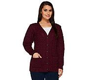 Aran Craft Merino Wool V-Neck Button Front Cardigan - A251983