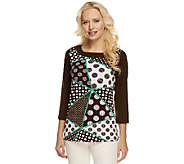 Susan Graver Liquid Knit Printed Top with Solid Trim - A252583
