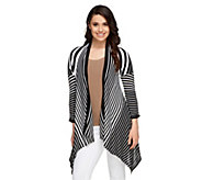 Attitudes by Renee 3/4 Sleeve Graduated Stripe Cardigan - A253183