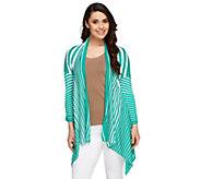 Attitudes by Renee 3/4 Sleeve Graduated Stripe Cardigan - A253183