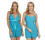Liz Claiborne New York 3-Piece Tankini Swimsuit Set - A253383