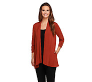 Susan Graver Liquid Knit 3/4 Sleeve Cardigan w/ Side Pockets - A257083